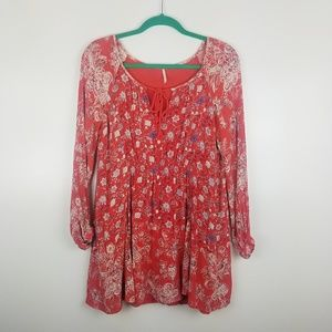 Free People Floral and Paisley Long Sleeve Tunic